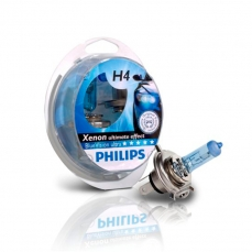 PHILIPS Autospuldze H4 12V 60/55W Bluevision Ultra 2+2gb blisteris